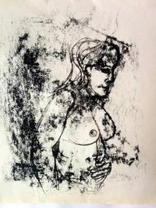 Proflle monoprint of nude woman