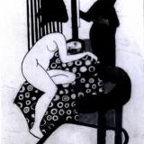 female figure on fabric in Cornwall studio