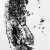 Standing male nude upper body profile with hands to his face black and white monoprint