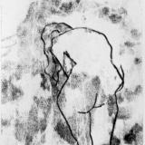 Standing female figure, back view leaning forward black and white monoprint