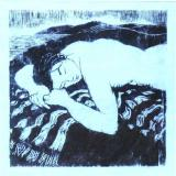 Woodblock print of sleeping woman