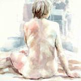 watercolour of nude back