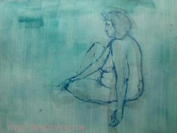 blue wash drawing of nude Penzance woman