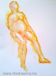 orange pencil and watercolour male nude