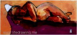 reclining figure watercolour Cornwall