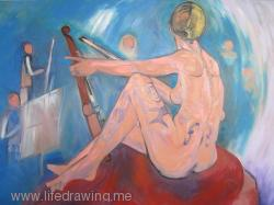 Nude woman with violin