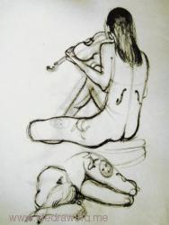 nude violinist with tattoos