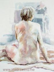 seated female nude watercolour