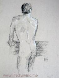 Male nude backview, charcoal and pastel