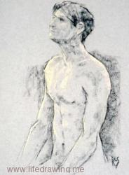 Male nude charcoal and pastel