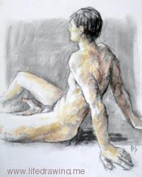 Male nude sitting, charcoal and pastel