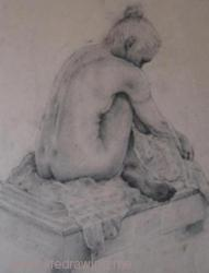 Charcoal drawing of a seated woman's back