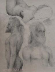 Figure sketches.  Charcoal on paper