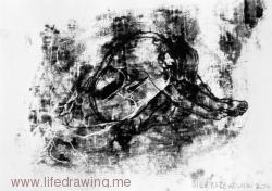 Female nude seated and huddled head down black and white monoprint