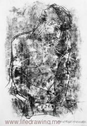 Leaning back male figure lost in thought black and white monoprint