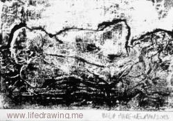 Reclining female nude back view black and white monoprint