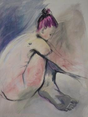 seated nude drawing Penzance