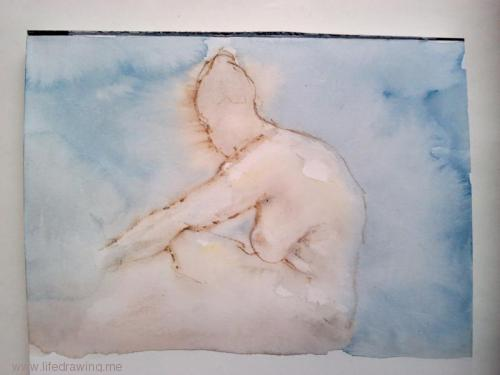 quick watercolour sketch of female nude