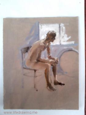 oil sketch of seated man