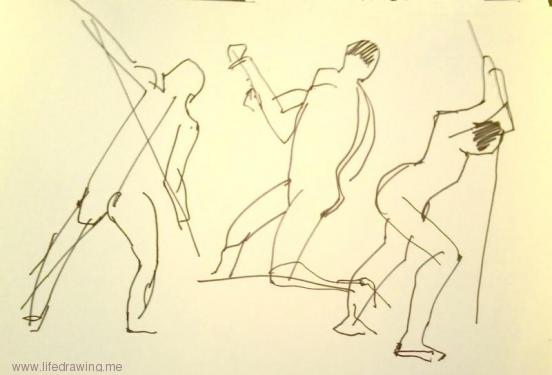 one minute gesture drawing action poses