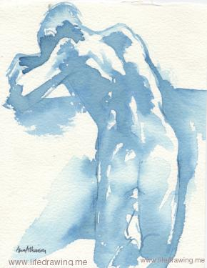 acrylic wash drawing of nude back