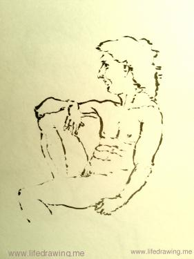brush drawing of classical seated male nude