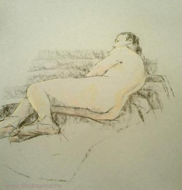 charcoal drawing of male nude on coloured paper