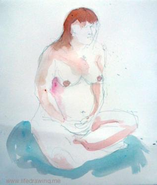 watercolour of seated pregnant nude