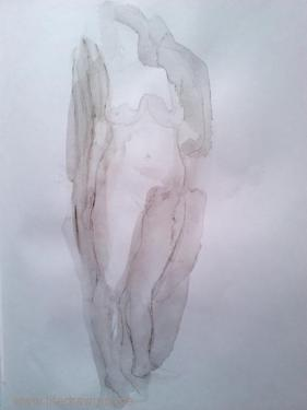 standing woman wash and pencil drawing