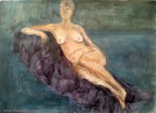 reclining nude Cornwall woman