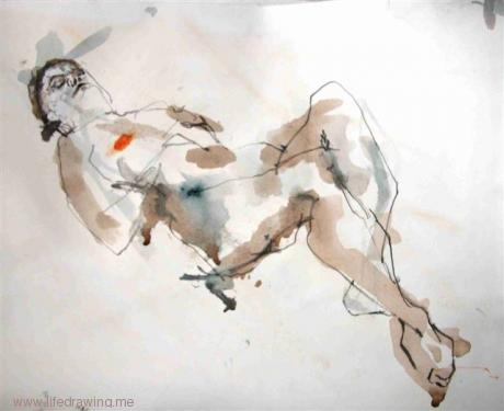 reclining woman life sketch Cornwall
