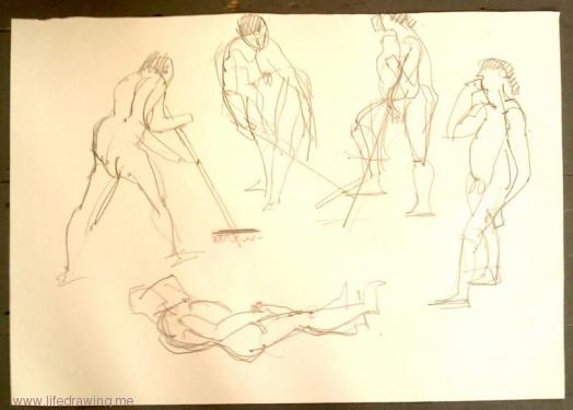 two minute gesture drawings of figures in action