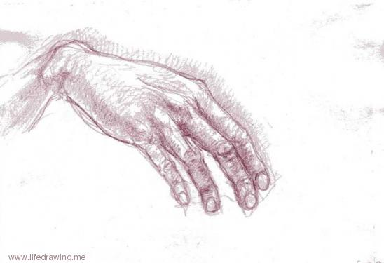 red drawing of a hand