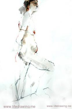 ink and wash figure drawing of standing woman