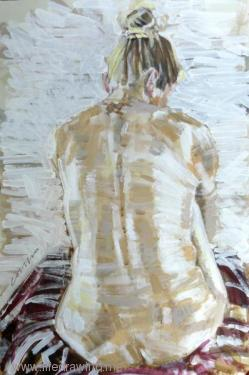painting of a nude woman's back Penzance Cornwall
