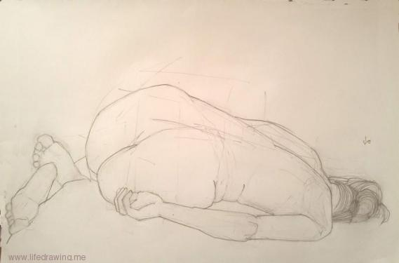 life drawing reclining woman Newlyn