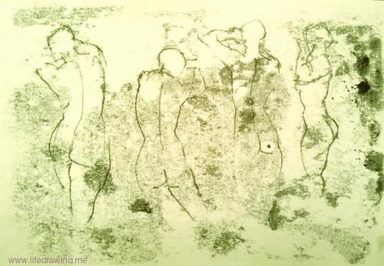 one minute monoprints Newlyn nudes