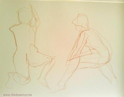 lifedrawing Newlyn female nudes sketches in red pencil