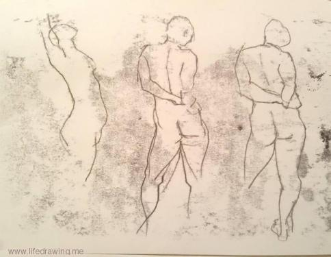 monoprint one-minute sketches of Newlyn nude standing