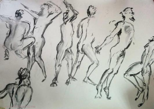 group of sketches of nude man in movement