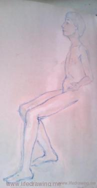 sketch of young seated male nude