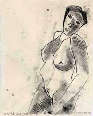 monoprint of woman