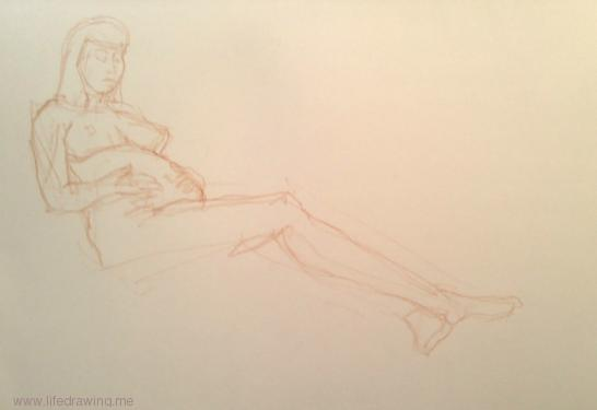 nude Newlyn woman reclining while pregnant drawing