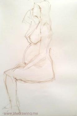 pregnant Newlyn woman seated pencil sketch