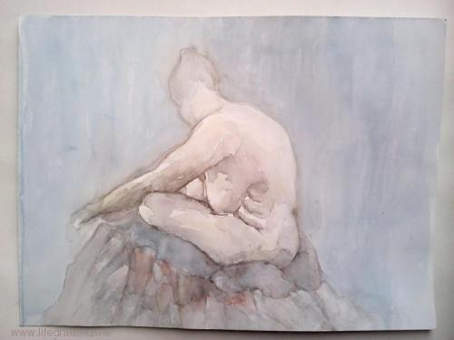nude watercolour woman
