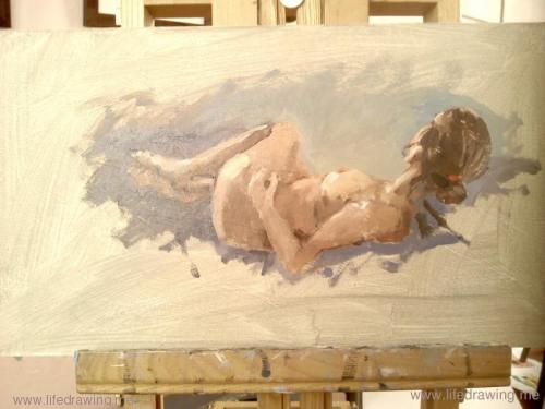 quick oil sketch of reclining woman's back