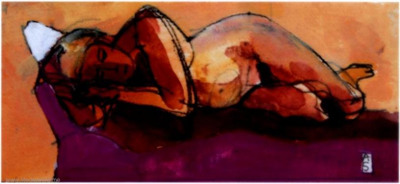 reclining nude watercolour