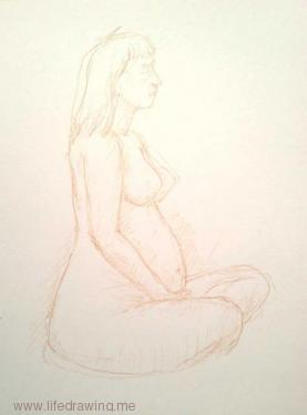 life drawing of nude pregnant woman sitting