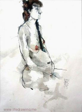 pregnant woman seated ink life drawing