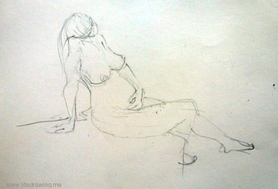 pencil sketch of seated pregnant girl in Cornwall